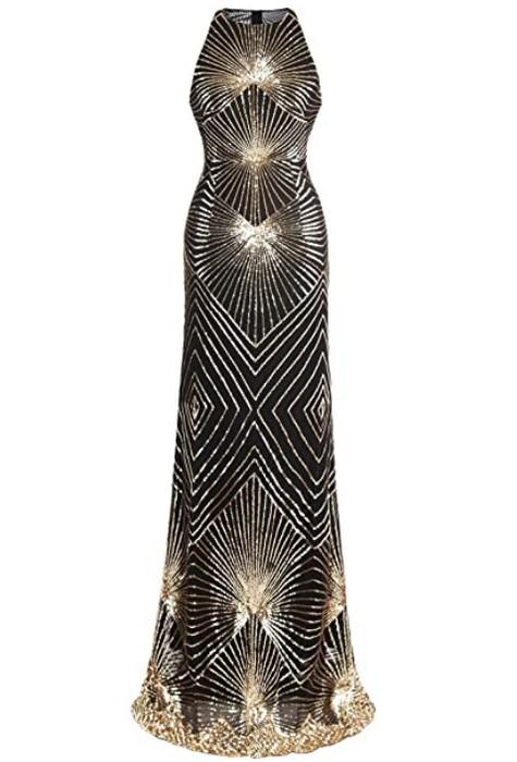 robe-longue-art-deco-or-noir